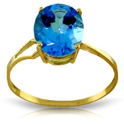 2.2 ctw Blue Topaz Ring Jewelry 14KT Yellow Gold - GG#2034