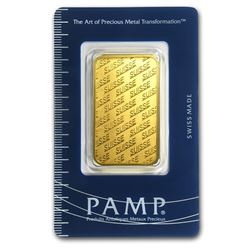 One pc. 1 oz .9999 Fine Gold Bar - PAMP Suisse New Design In Assay - WJA84698