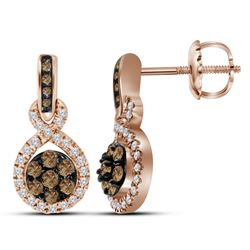 0.50CTW White and Champagne Diamond Anniversary 10KT Earrings Rose Gold - GD114645