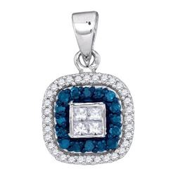 0.33CTW White and Blue Diamond Micro-Pave 10KT Pendant White Gold - GD88619