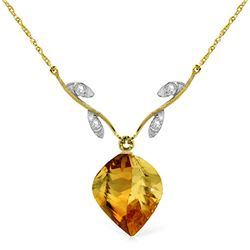 11.77 ctw Citrine & Diamond Necklace Jewelry 14KT Yellow Gold - GG#4703