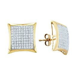 0.50CT Diamond Micro-Pave 10KT Earrings Yellow Gold