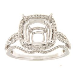 Genuine 14K White Gold 0.47CTW Diamond Semi Mount Ring - REF-84W4G