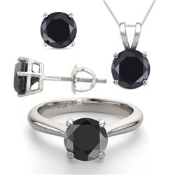 14K White Gold Jewelry SET 4.0CTW Black Diamond Ring, Earrings, Necklace