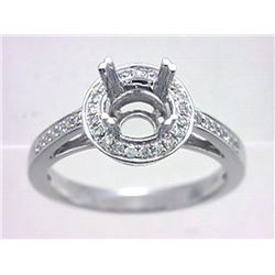 Genuine 14K White Gold 0.22CTW Diamond Semi Mount Ring - REF-50Z4T