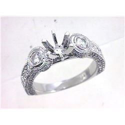 Genuine 18K White Gold 0.82CTW Diamond Semi Mount Ring - REF-147H7W
