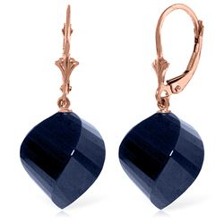 30.5 ctw Sapphire Earrings Jewelry 14KT Rose Gold