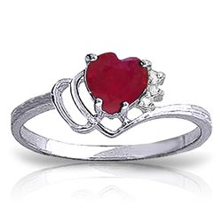 1.02 ctw Ruby & Diamond Ring Jewelry 14KT White Gold