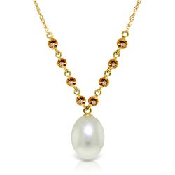 5 ctw Pearl & Citrine Necklace Jewelry 14KT Yellow Gold