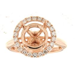 Genuine 14K Rose Gold 0.57CTW Diamond Semi Mount Ring - REF-78W6G