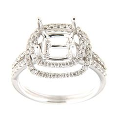 Genuine 14K White Gold 0.64CTW Diamond Semi Mount Ring - REF-90K6R
