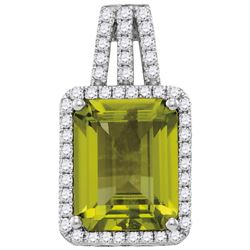 0.25CT Diamond and 2.60CT Peridot Anniversary 14KT Pendant White Gold