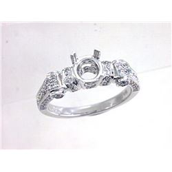 Genuine 18K White Gold 0.57CTW Diamond Semi Mount Ring - REF-95G2M
