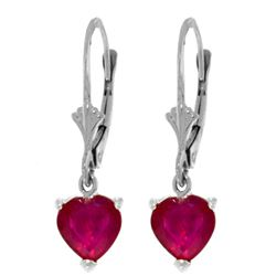 2.9 ctw Ruby Earrings Jewelry 14KT White Gold