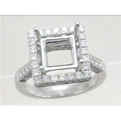 Genuine 18K White Gold 1.14CTW Diamond Semi Mount Ring - REF-184Y2Z