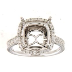 Genuine 14K White Gold 0.41CTW Diamond Semi Mount Ring - REF-76F7N