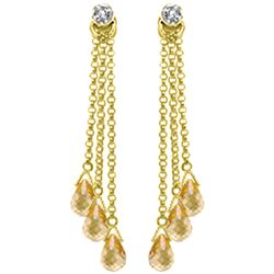 7.38 ctw Citrine & Diamond Earrings Jewelry 14KT Yellow Gold