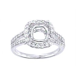 Genuine 14K White Gold 0.6CTW Diamond Semi Mount Ring - REF-60K6R