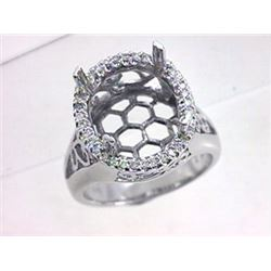 Genuine 14K White Gold 0.26CTW Diamond Semi Mount Ring - REF-61K3R