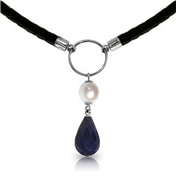 10.80 ctw Sapphire & Pearl Necklace Jewelry 14KT White Gold