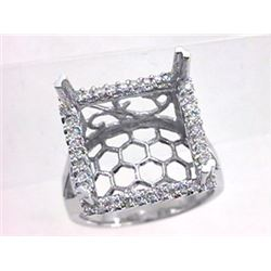 Genuine 14K White Gold 0.46CTW Diamond Semi Mount Ring - REF-75Y5Z