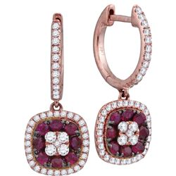 0.35CT Diamond and 0.60CT Ruby Anniversary 18KT Earrings Rose Gold