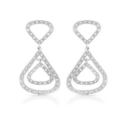 Genuine 0.67 TCW 14K White Gold Ladies Earring - REF-69M2F