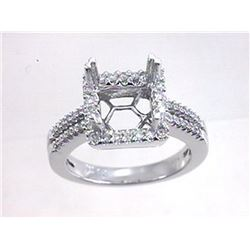 Genuine 14K White Gold 0.38CTW Diamond Semi Mount Ring - REF-68X9Y