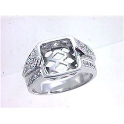 Genuine 18K White Gold 0.64CTW Diamond Semi Mount Ring - REF-151A4X