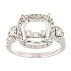 Genuine 14K White Gold 0.63CTW Diamond Semi Mount Ring - REF-85H8W