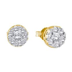 0.25CT Diamond Flower 14KT Earrings Yellow Gold