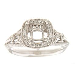 Genuine 14K White Gold 0.24CTW Diamond Semi Mount Ring - REF-55N7A