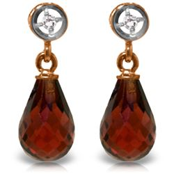 2.73 ctw Garnet & Diamond Earrings Jewelry 14KT Rose Gold