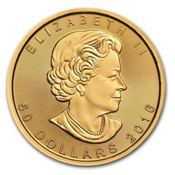 One pc. Canada 1 oz .9999 Gold Maple Leaf Brilliant Uncirculated