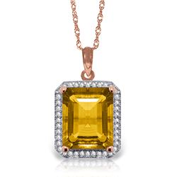 5.4 ctw Citrine & Diamond Necklace Jewelry 14KT Rose Gold