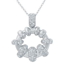 Genuine 0.71 TCW 14K White Gold Ladies Necklace - REF-80A3X