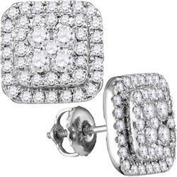 1.0CT Diamond Anniversary 14KT Earrings White Gold
