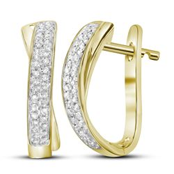 0.15CT Diamond Hoops 14KT Earrings Yellow Gold
