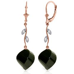31.02 ctw Black Spinel & Diamond Earrings Jewelry 14KT Rose Gold