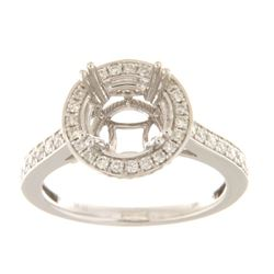 Genuine 14K White Gold 0.61CTW Diamond Semi Mount Ring - REF-104W5G
