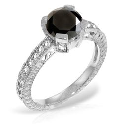 1.30 ctw Black & White Diamond Ring Jewelry 14KT White Gold