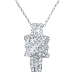 Genuine 0.97 TCW 18K White Gold Ladies Necklace - REF-118X7Y