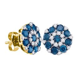 1.50CTW White and Blue Diamond Anniversary 10KT Earrings Yellow Gold