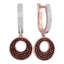 0.35CTW White and Champagne Diamond Micro-Pave 10KT Earrings Rose Gold