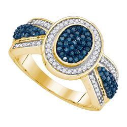 0.50CTW White and Blue Diamond Anniversary 10KT Ring Yellow Gold