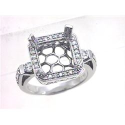 Genuine 14K White Gold 0.58CTW Diamond Semi Mount Ring - REF-96G8M