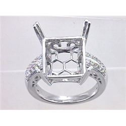 Genuine 14K White Gold 0.28CTW Diamond Semi Mount Ring - REF-60G2M