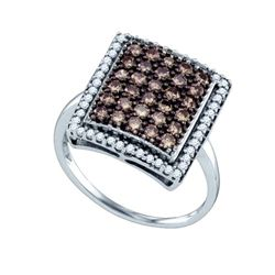1.0CTW White and Champagne Diamond Bridal 10KT Ring White Gold