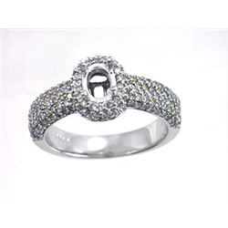 Genuine 14K White Gold 0.95CTW Diamond Semi Mount Ring - REF-88H3W