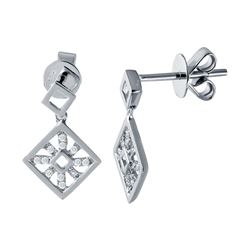 Genuine 0.12 TCW 14K White Gold Ladies Earring - REF-21Y8Z